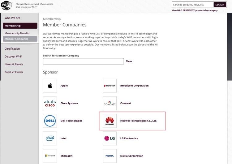 A screenshot of Wi-Fi Alliance Restoring Huawei's Membership.