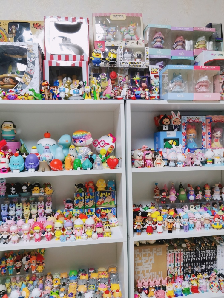 One collector showing off his collection of not only Chinese, but also imported designer toy figures.