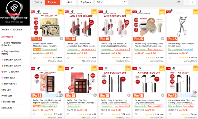 Perfect Diary's official store on Shopee